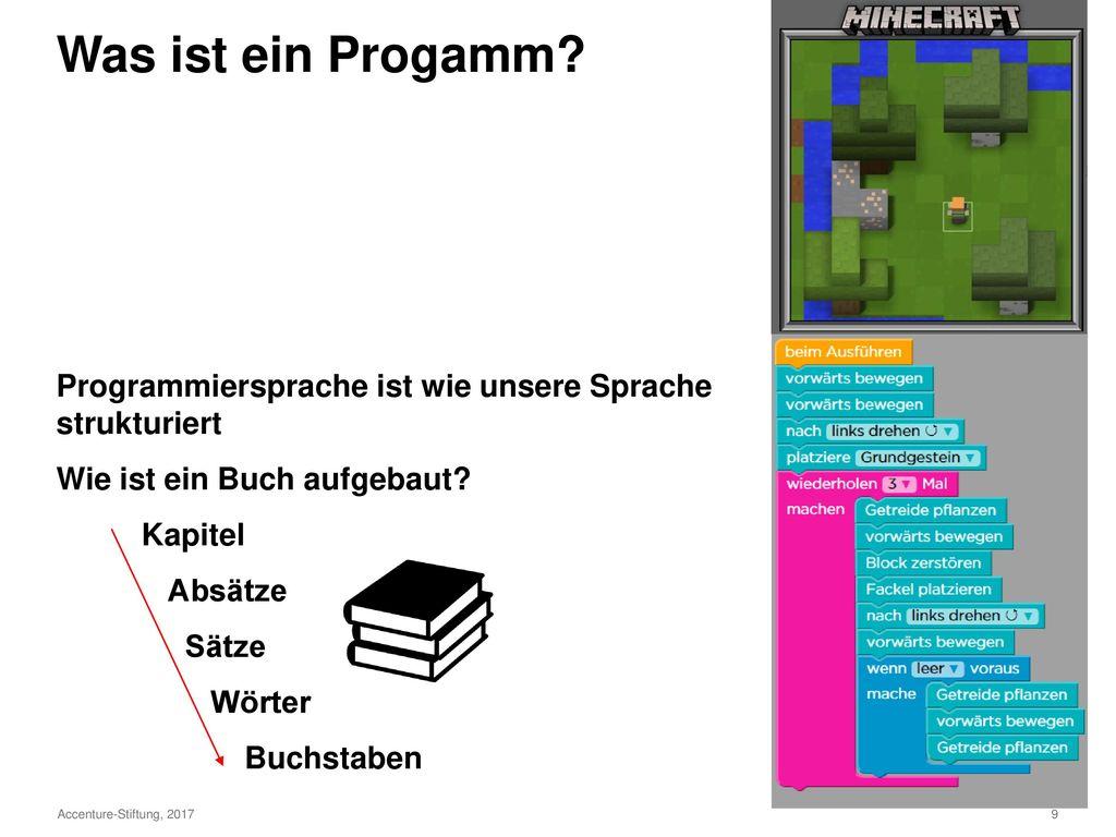 Was ist ein Progamm Programmiersprache ist wie unsere Sprache strukturiert. Wie ist ein Buch aufgebaut