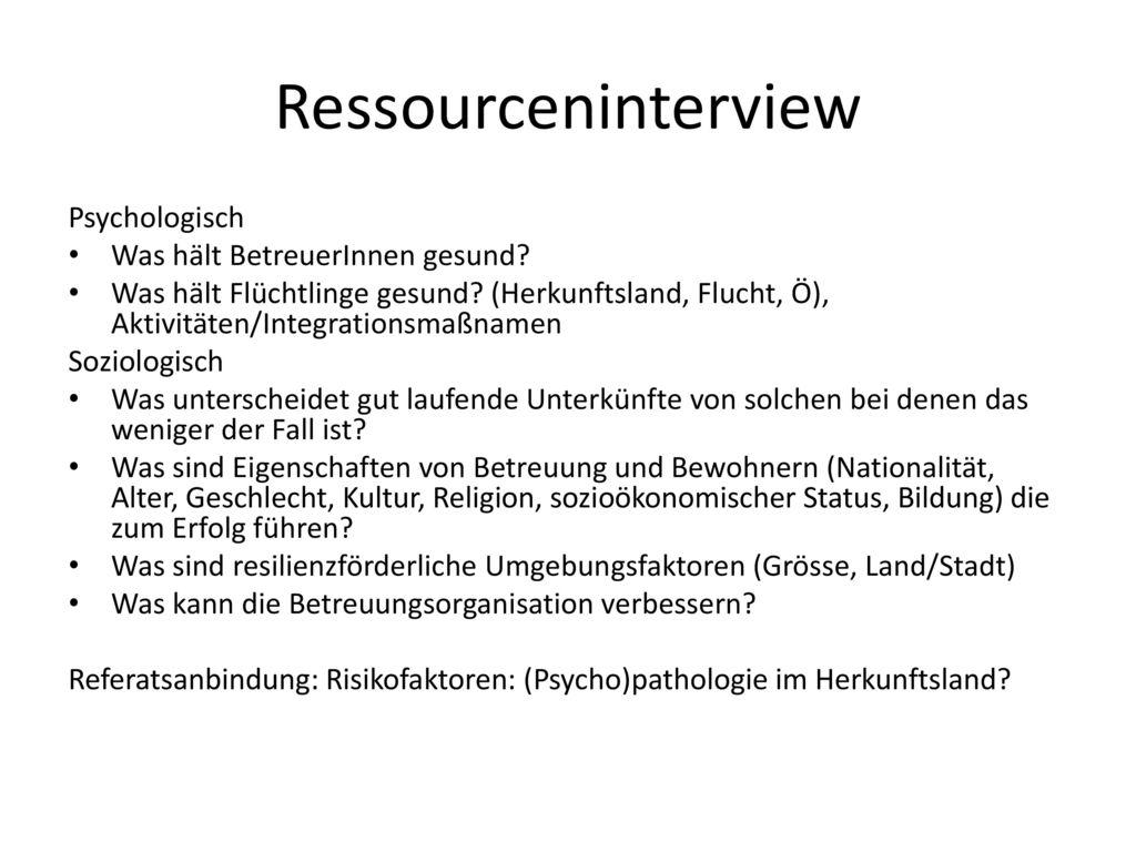 Ressourceninterview Psychologisch Was hält BetreuerInnen gesund