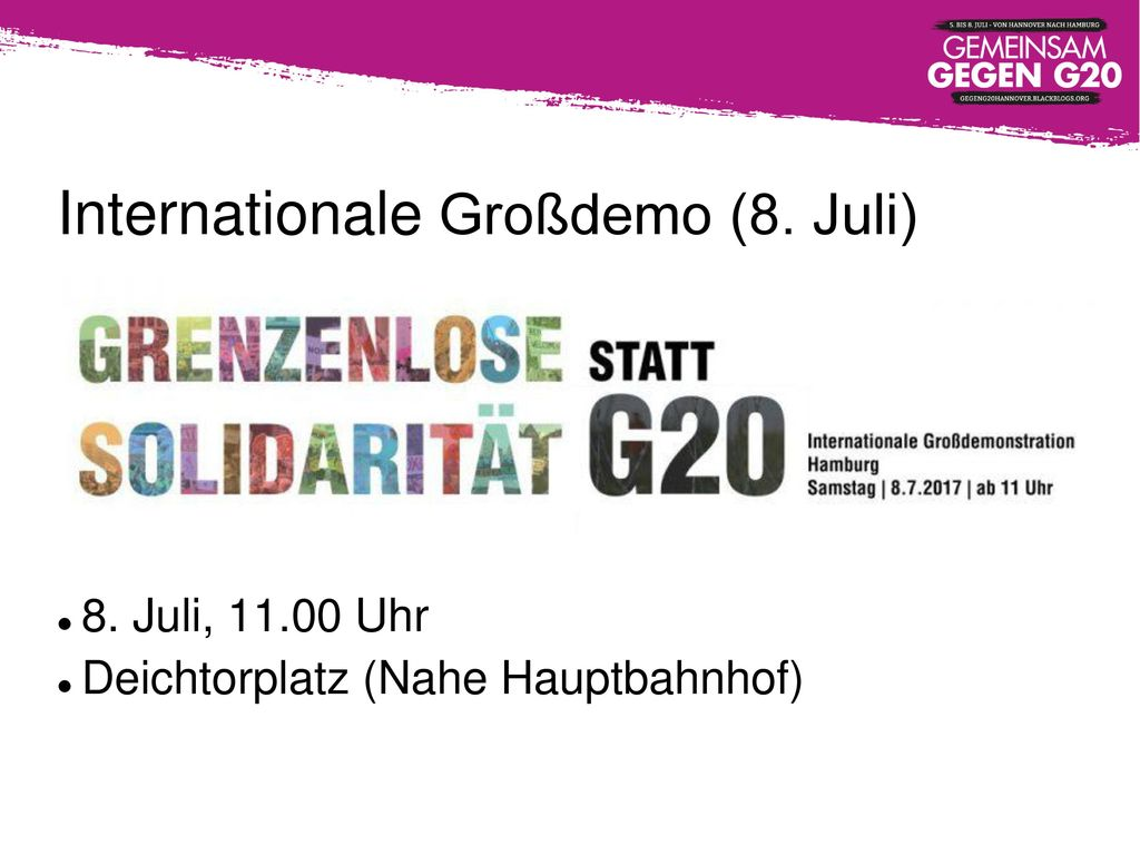 Internationale Großdemo (8. Juli)