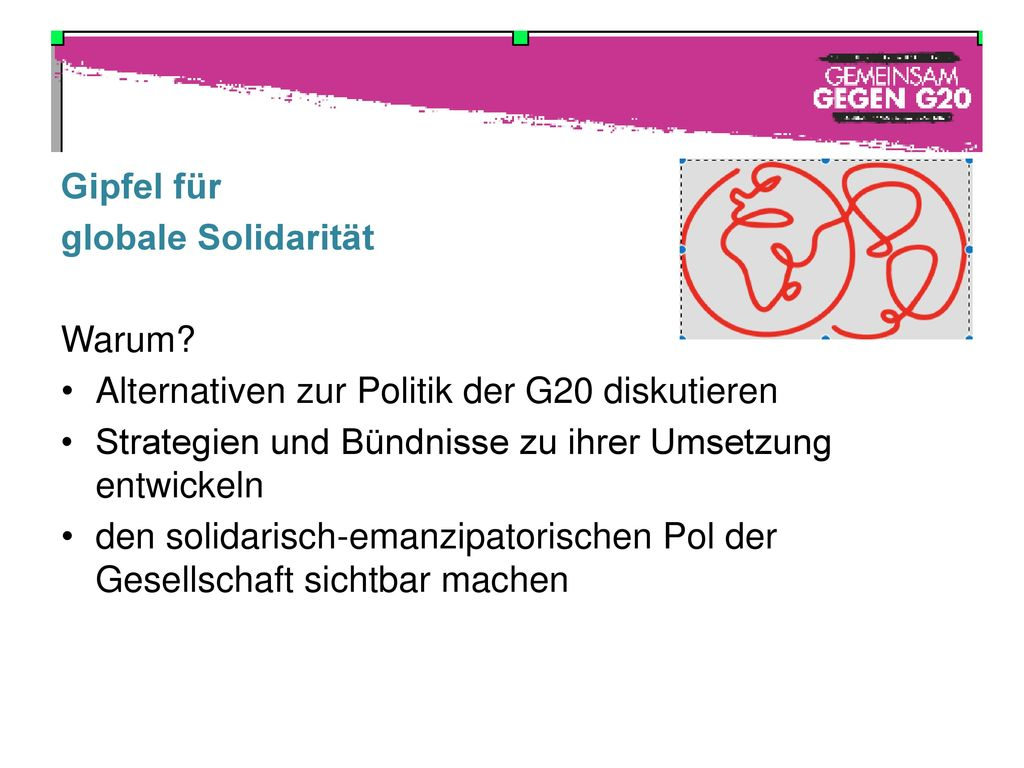 Alternativen zur Politik der G20 diskutieren