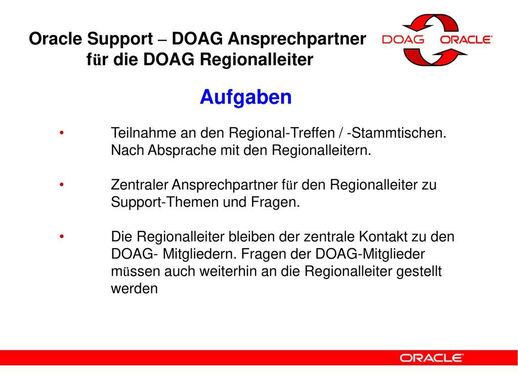 Oracle Support – DOAG Ansprechpartner für die DOAG Regionalleiter