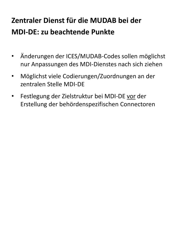 Zentraler Dienst für die MUDAB bei der MDI-DE: zu beachtende Punkte