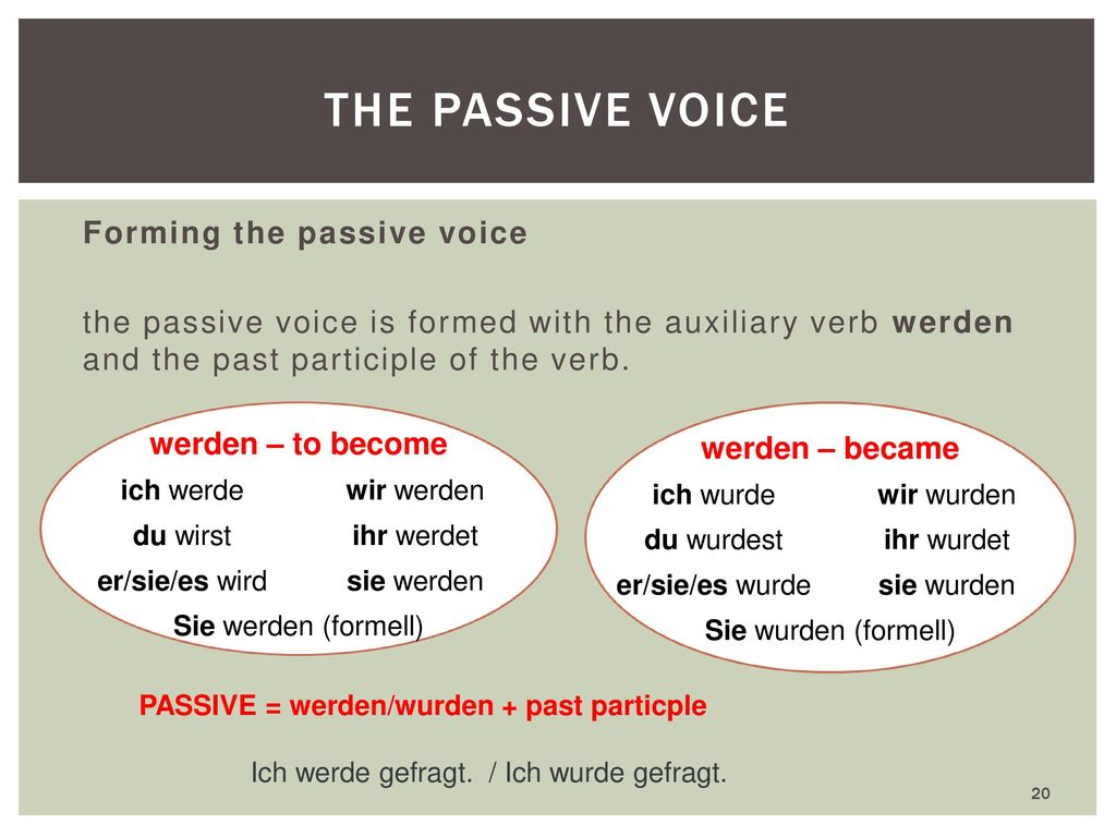 the passive voice Forming the passive voice werden – to become