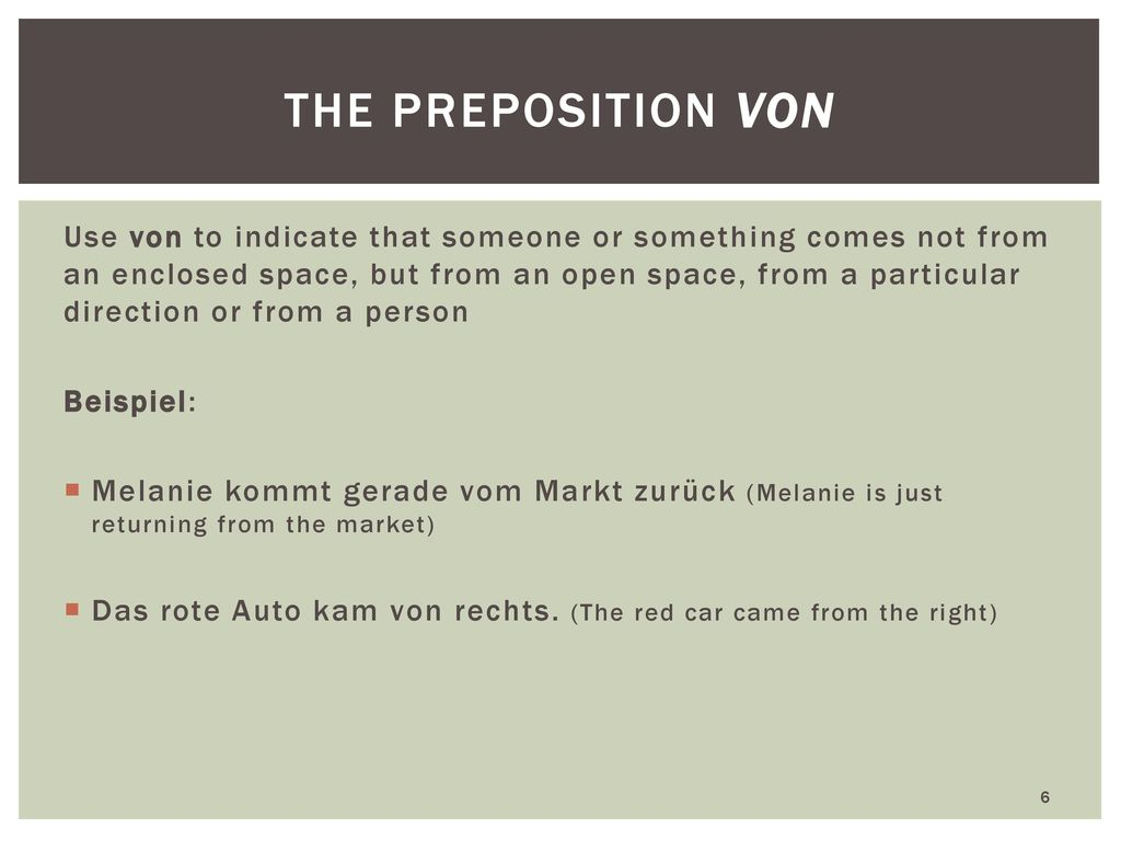 the preposition von