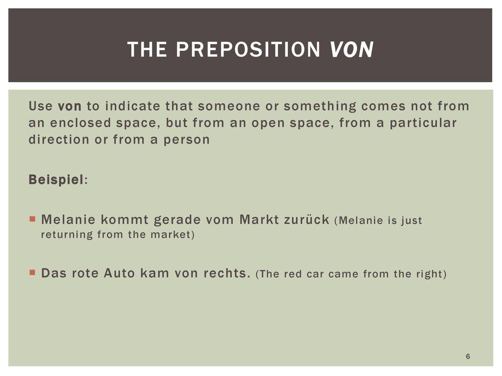 the preposition von