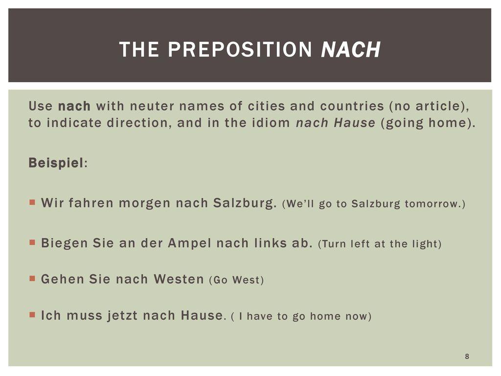 the preposition nach