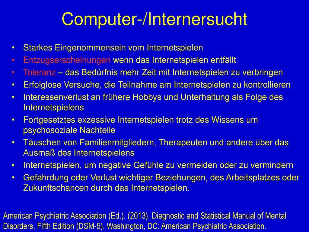 Computer-/Internersucht