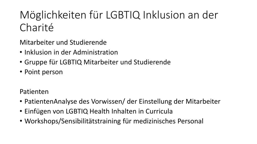 Möglichkeiten für LGBTIQ Inklusion an der Charité