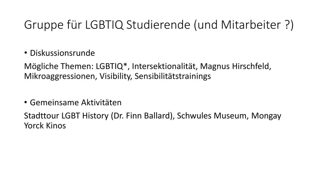 Gruppe für LGBTIQ Studierende (und Mitarbeiter )