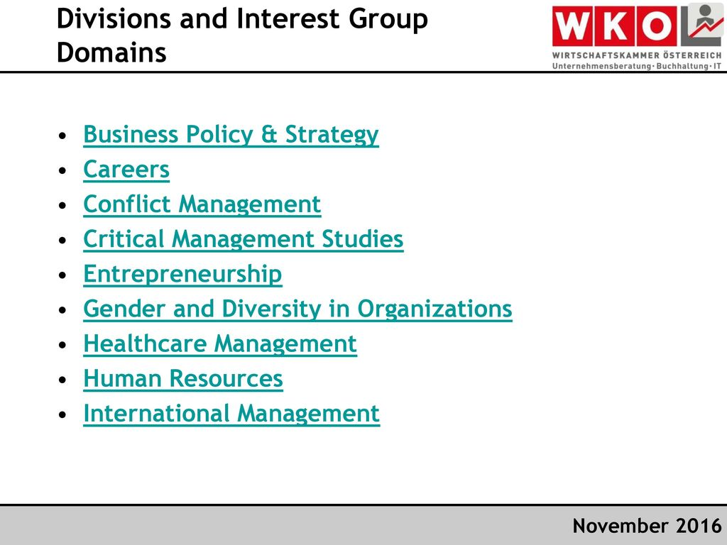 Divisions and Interest Group Domains