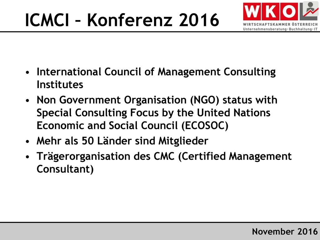 ICMCI – Konferenz 2016 International Council of Management Consulting Institutes.