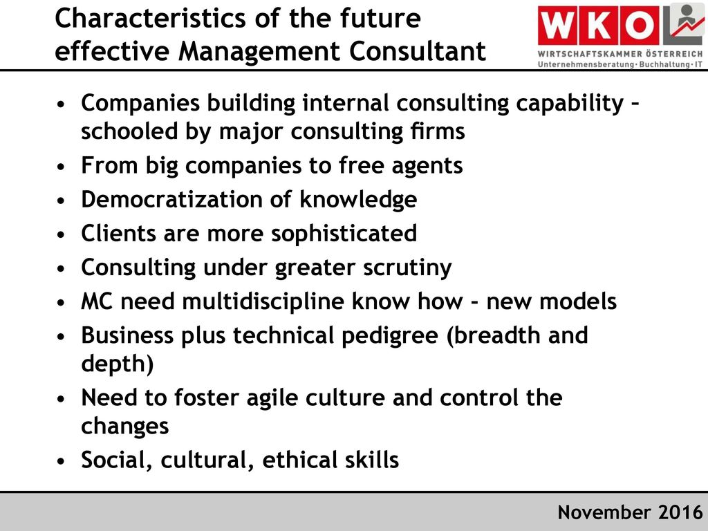 Characteristics of the future effective Management Consultant