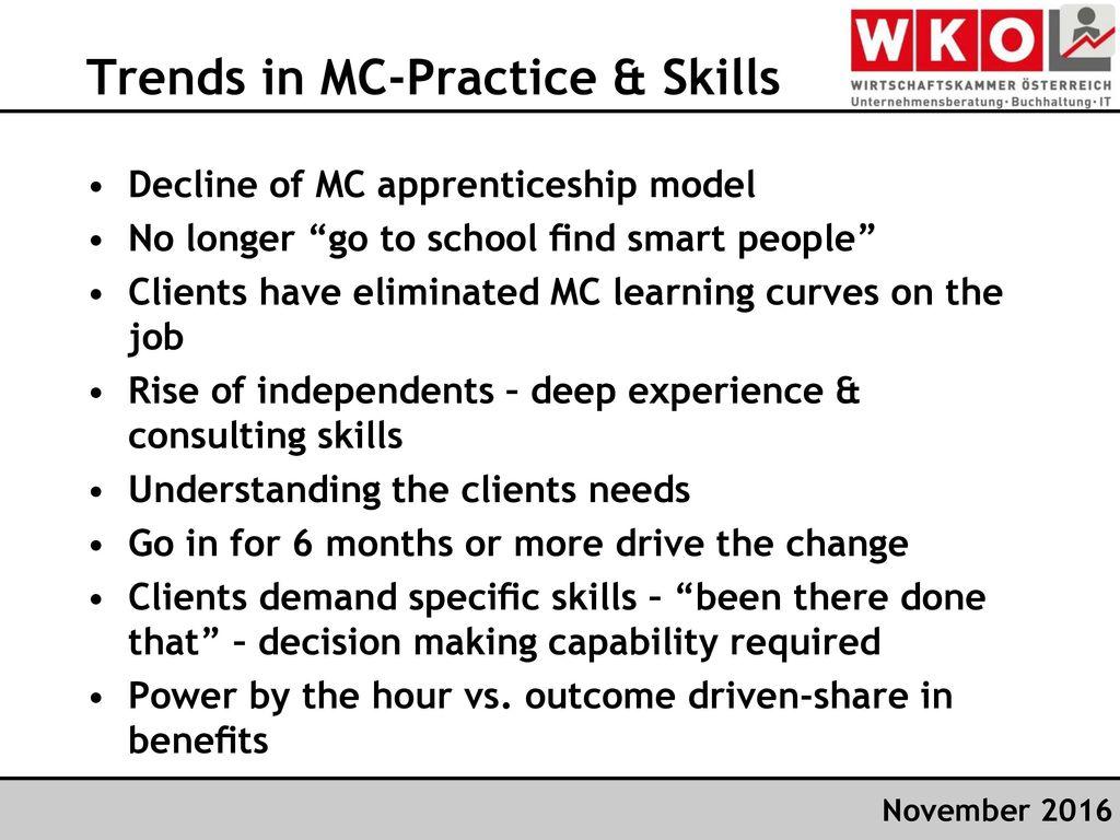 Trends in MC-Practice & Skills
