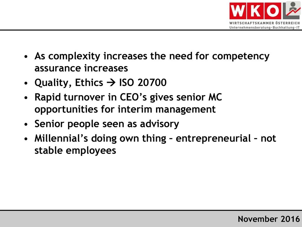 As complexity increases the need for competency assurance increases