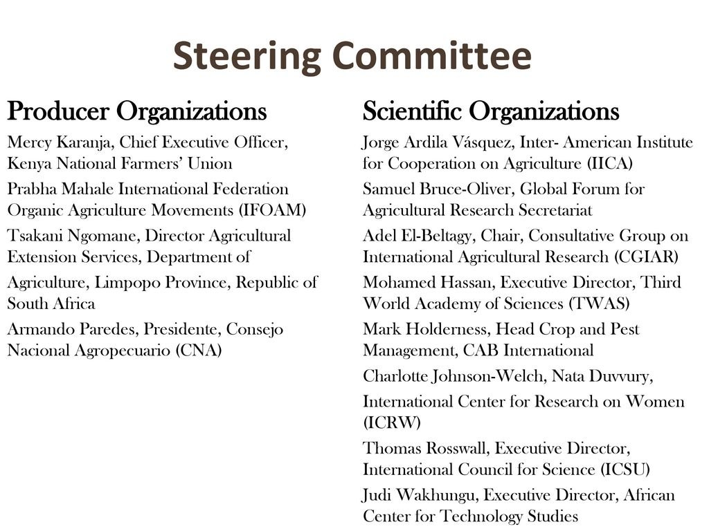 Steering Committee Producer Organizations Scientific Organizations
