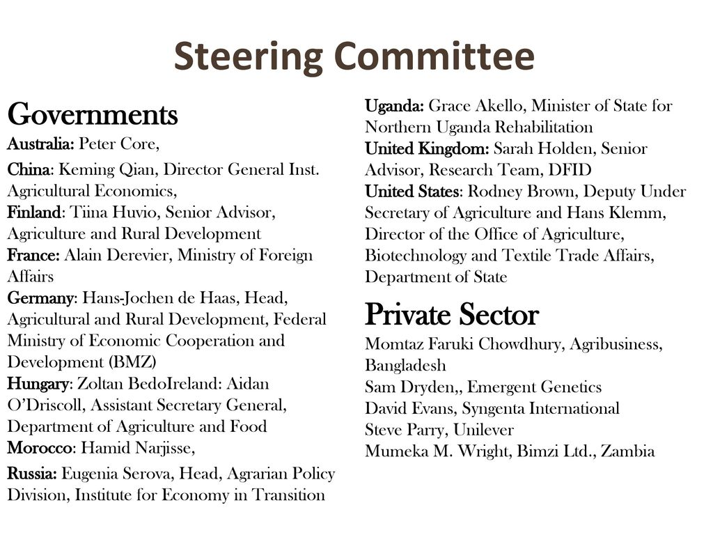 Steering Committee Governments Australia: Peter Core,
