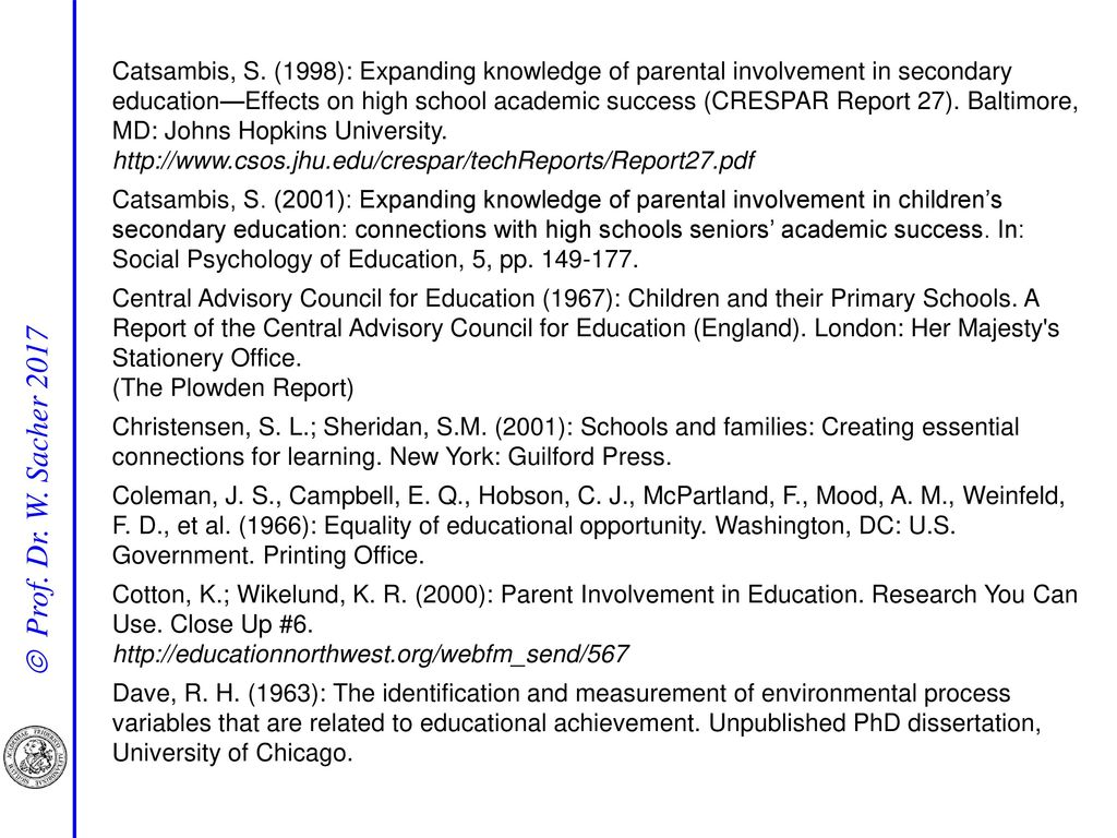 Catsambis, S. (1998): Expanding knowledge of parental involvement in secondary education—Effects on high school academic success (CRESPAR Report 27). Baltimore, MD: Johns Hopkins University. http://www.csos.jhu.edu/crespar/techReports/Report27.pdf
