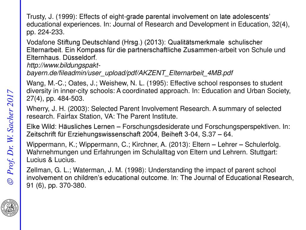 Trusty, J. (1999): Effects of eight-grade parental involvement on late adolescents' educational experiences. In: Journal of Research and Development in Education, 32(4), pp. 224-233.