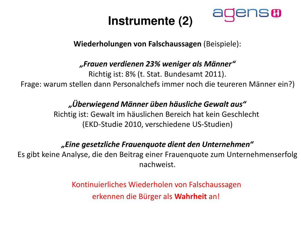 Instrumente (2) Wiederholungen von Falschaussagen (Beispiele):