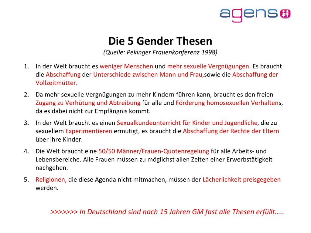 Die 5 Gender Thesen (Quelle: Pekinger Frauenkonferenz 1998)