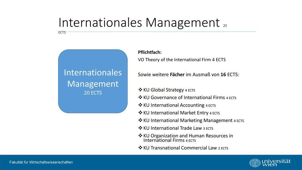Internationales Management 20 ECTS