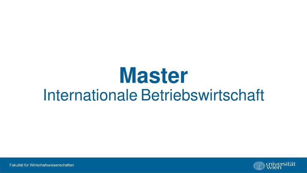 Master Internationale Betriebswirtschaft