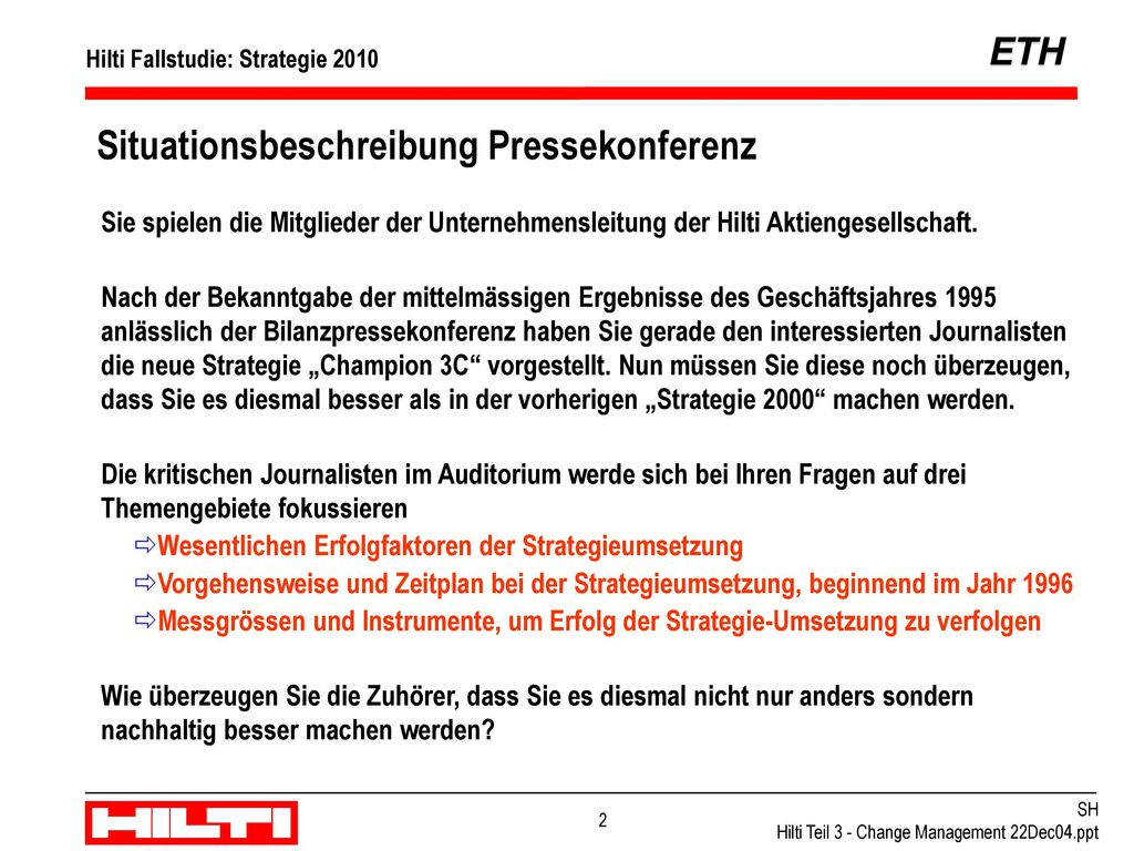 Situationsbeschreibung Pressekonferenz