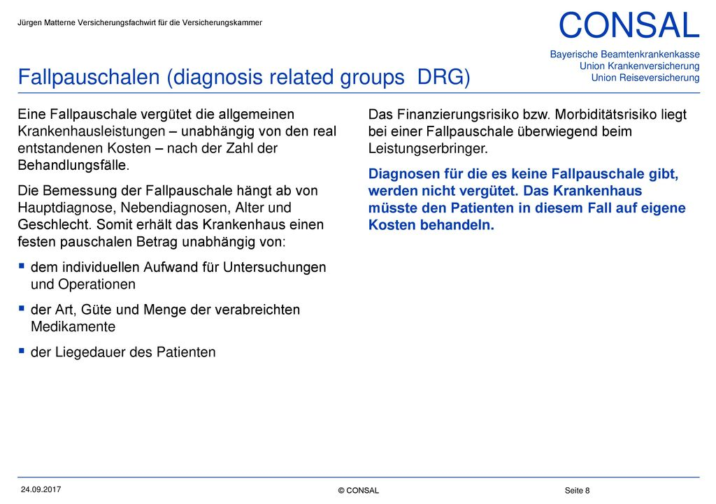 Fallpauschalen (diagnosis related groups DRG)