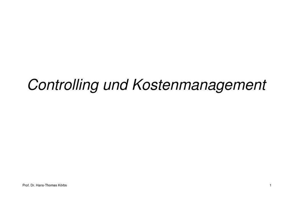 Controlling und Kostenmanagement