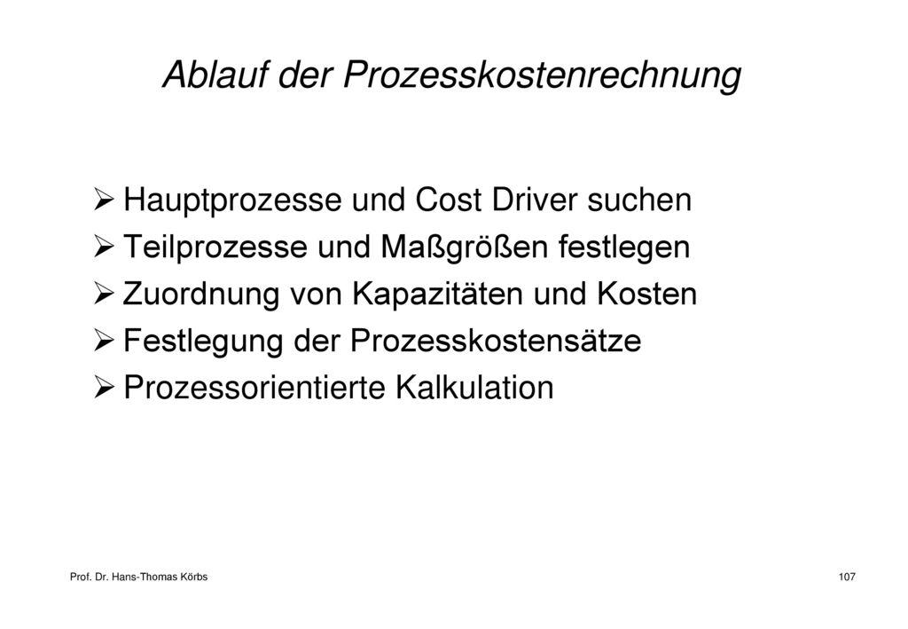 Ablauf der Prozesskostenrechnung
