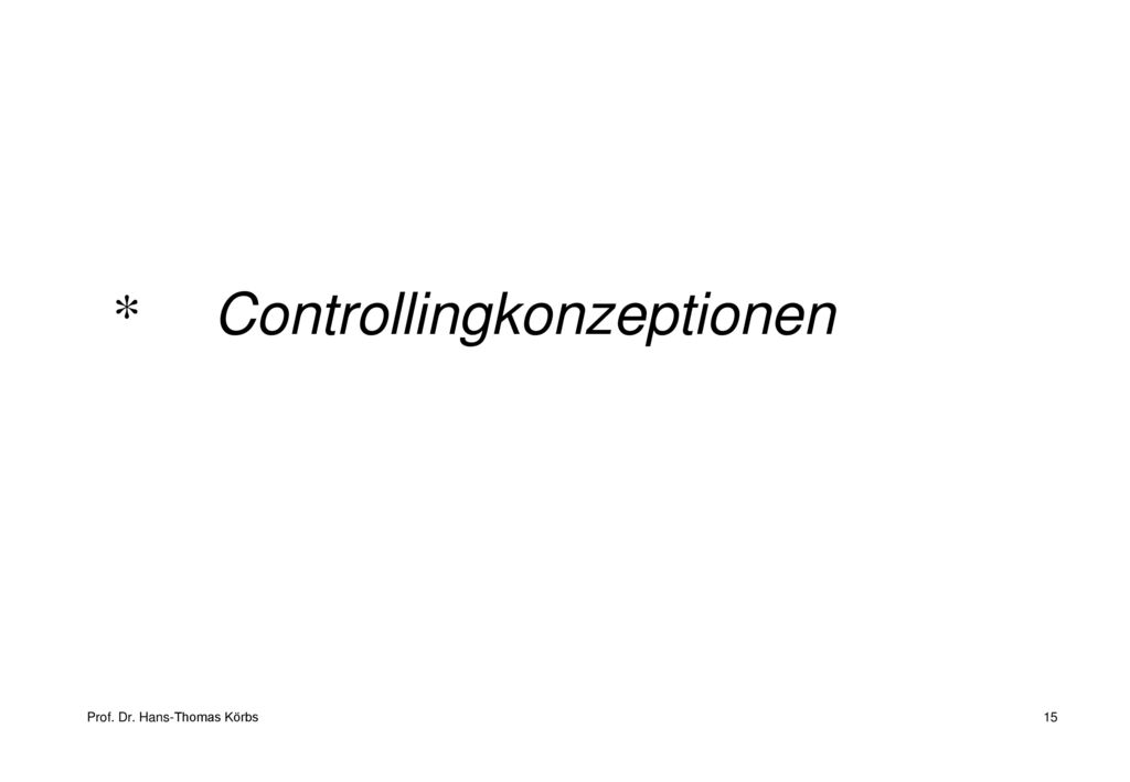Controllingkonzeptionen