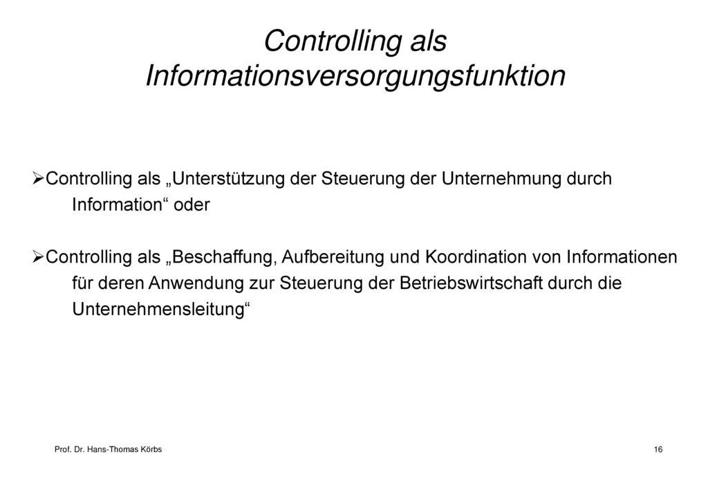 Controlling als Informationsversorgungsfunktion