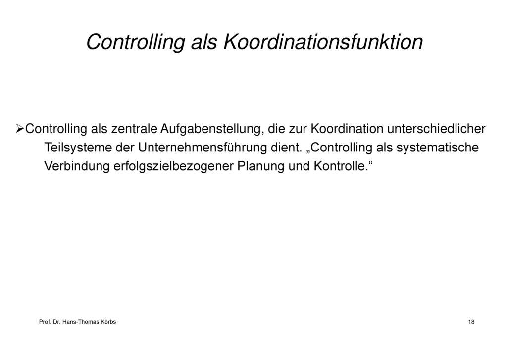 Controlling als Koordinationsfunktion