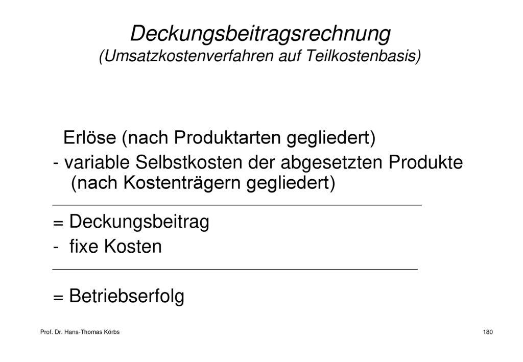 Deckungsbeitragsrechnung (Umsatzkostenverfahren auf Teilkostenbasis)