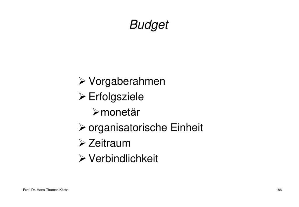 Budget Vorgaberahmen Erfolgsziele monetär organisatorische Einheit