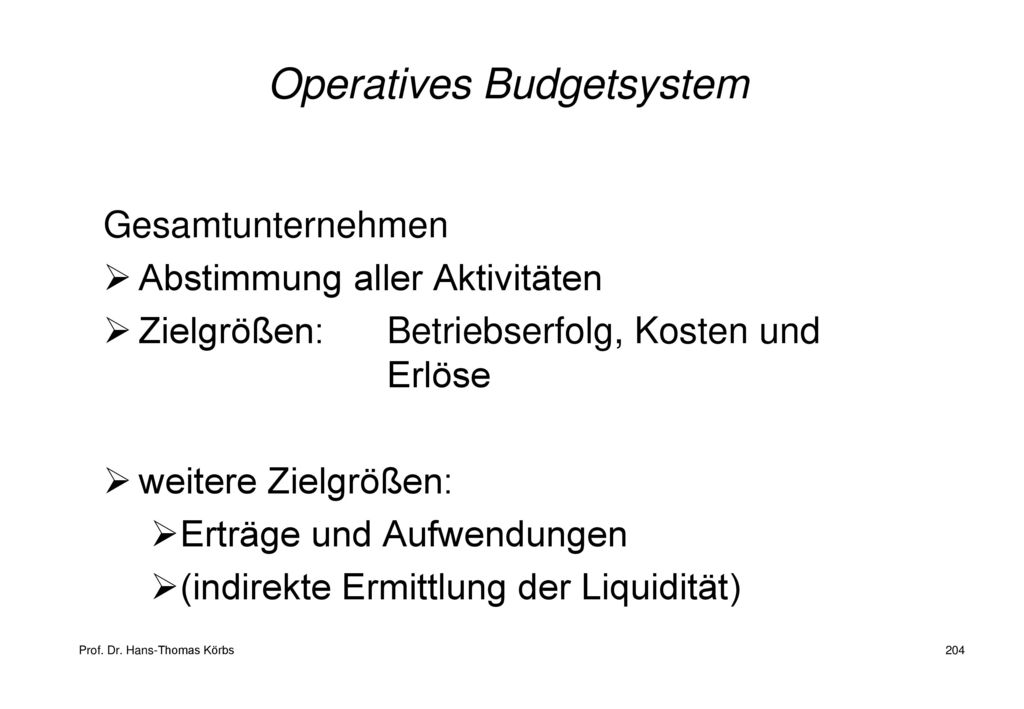 Operatives Budgetsystem