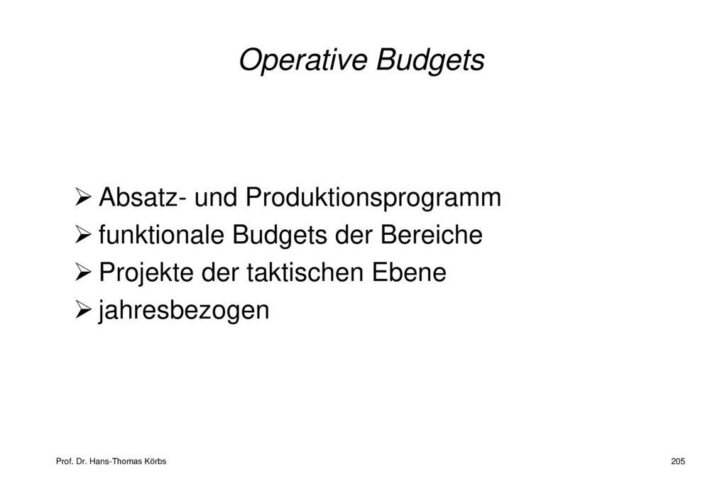 Operative Budgets Absatz- und Produktionsprogramm