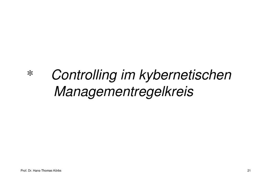 Controlling im kybernetischen