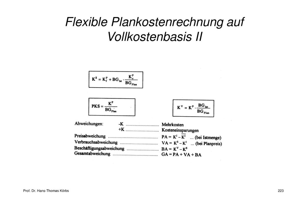 Flexible Plankostenrechnung auf Vollkostenbasis II