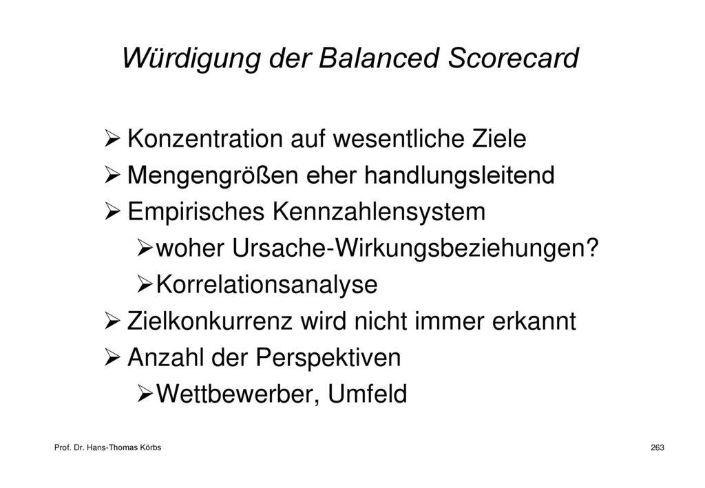Würdigung der Balanced Scorecard