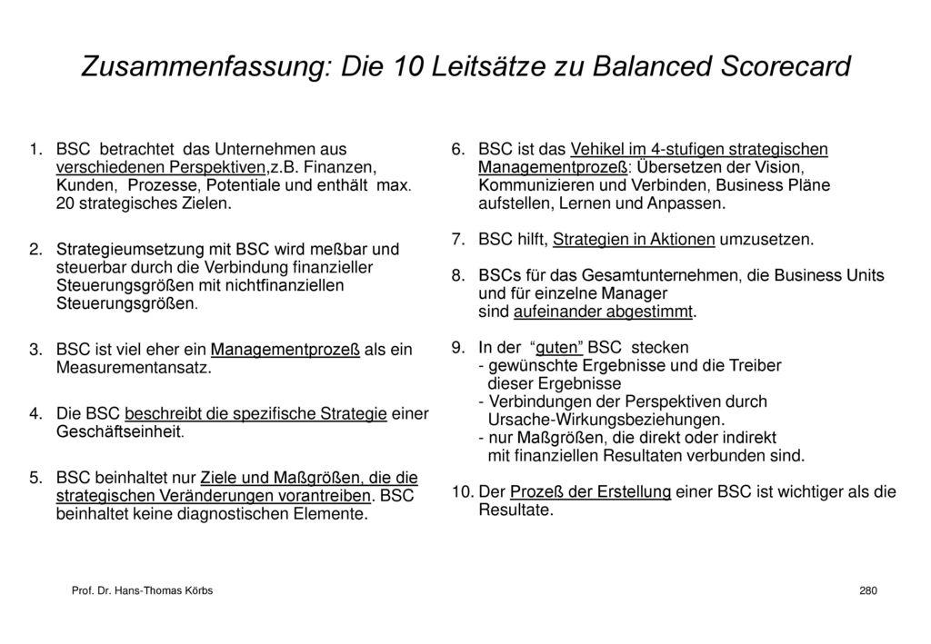 Zusammenfassung: Die 10 Leitsätze zu Balanced Scorecard