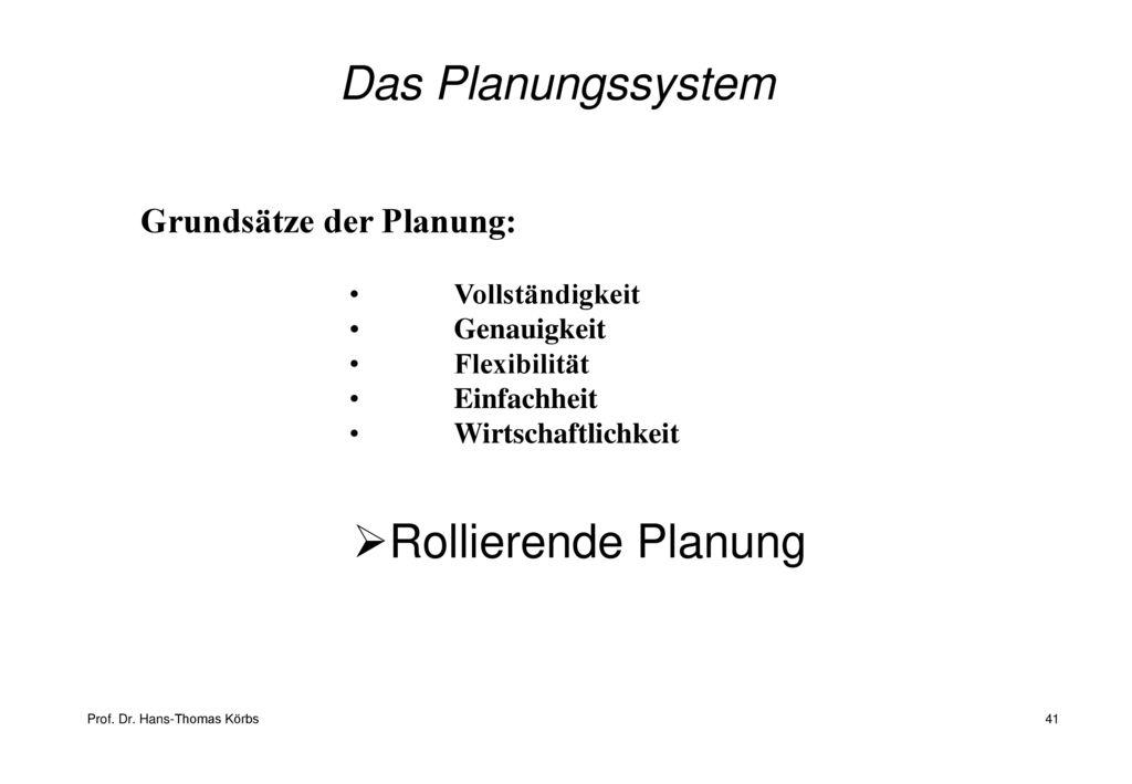 Das Planungssystem Rollierende Planung Grundsätze der Planung: