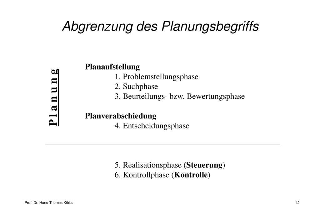 Abgrenzung des Planungsbegriffs