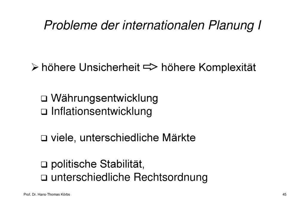 Probleme der internationalen Planung I
