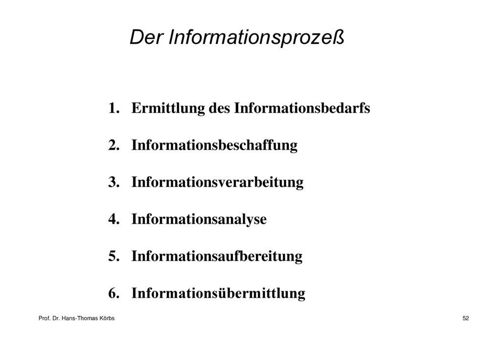 Der Informationsprozeß
