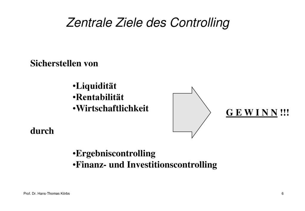Zentrale Ziele des Controlling