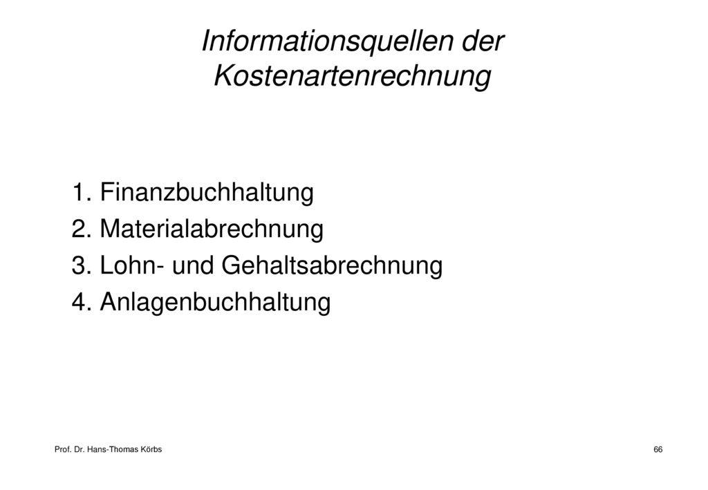Informationsquellen der Kostenartenrechnung