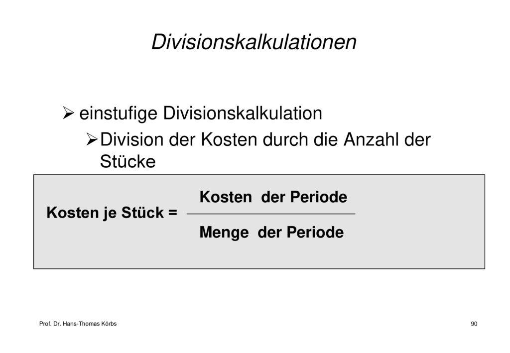 Divisionskalkulationen