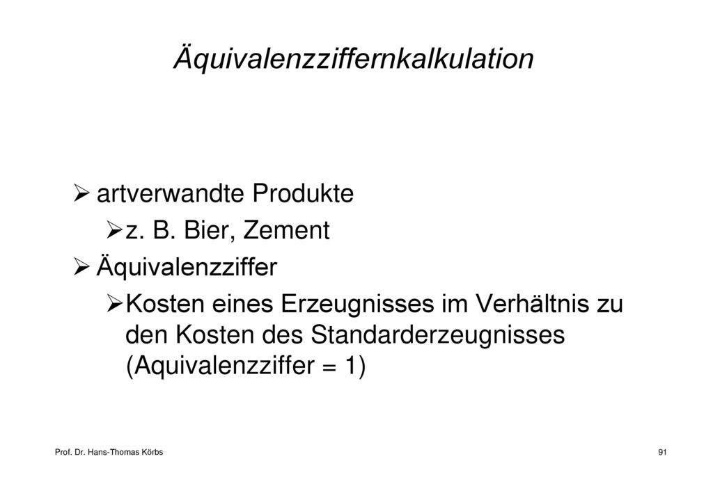 Äquivalenzziffernkalkulation