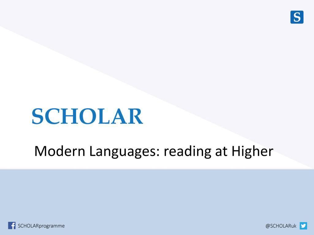 Modern Languages: reading at Higher